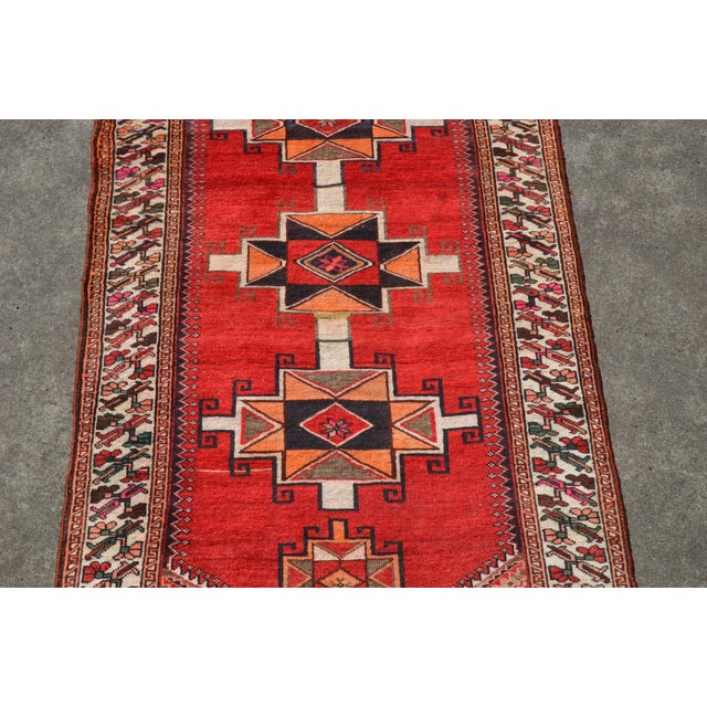 """Vintage Hand Knotted Persian Kazak Area Rug - 3' 11"""" X 7' 6"""" For Sale In Richmond - Image 6 of 10"""
