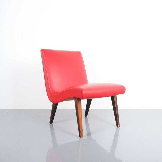 1950s Pair of 1950s Jens Risom Red Vinyl Faux Leather Chairs For Sale - Image 5 of 7