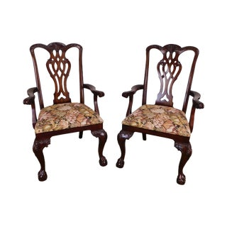 Maitland Smith Chippendale Style Carved Mahogany Ball & Claw Armchairs For Sale
