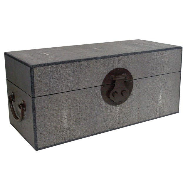 Animal Skin Gray Shagreen Wood Box by Fabio Ltd For Sale - Image 7 of 7