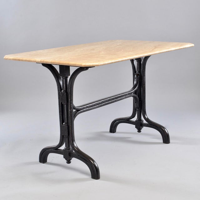 Art Deco Pub Table With Marble Top and Ebonised Bentwood Base For Sale - Image 3 of 12