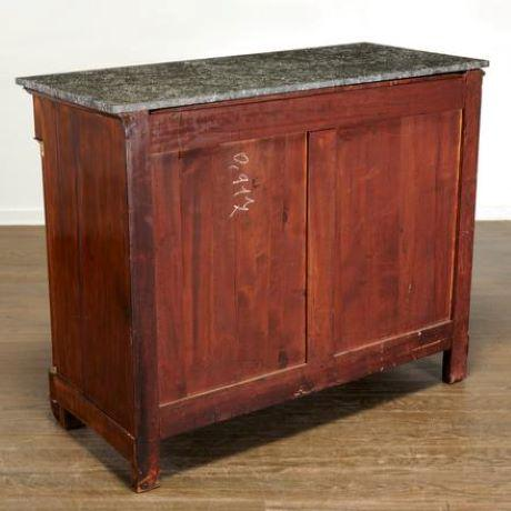 19th Century French Empire Marble Top Mahogany Commode For Sale - Image 4 of 10
