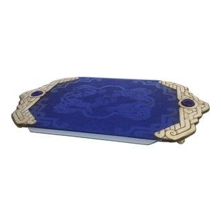 Silver and Blue Glass Intaglio Tray