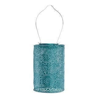 Soji Stella Outdoor Solar Powered Cylinder Lantern in Metallic Emerald For Sale