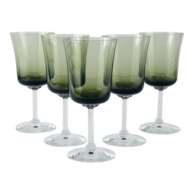 Mid 20th Century Vintage Fostoria Glamour Green Tulip Wine Water Stems - Set of 5 For Sale