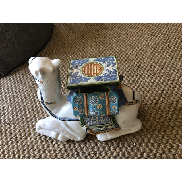 Hollywood Regency Traditional Ceramic Camel Garden Stool For Sale - Image 3 of 6