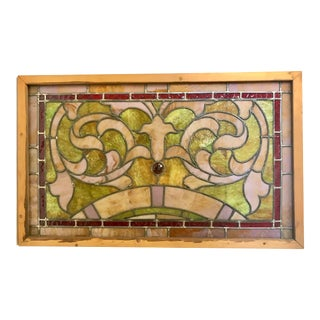 Antique Pink and Green Stained Glass Window For Sale