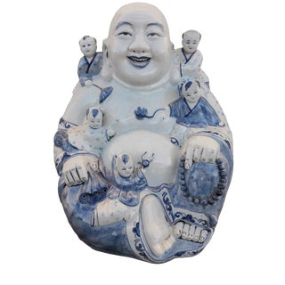 Vintage Blue & White Large Laughing Buddha With Children Large Chinoiserie Hotei Buddha and Children For Sale