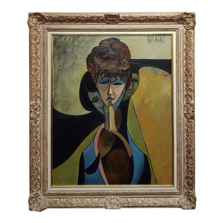 """1960s Philippe Marchand """"Three Faces of Women"""" Cubist Oil Painting For Sale"""