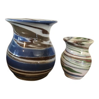 Desert Sands Pottery Swirl Vases - A Pair For Sale