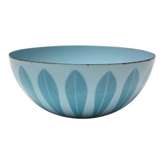 Norwegian Modern Pastel Blue Lotus Enamel Bowl by Arne Clausen for Cathrineholm For Sale