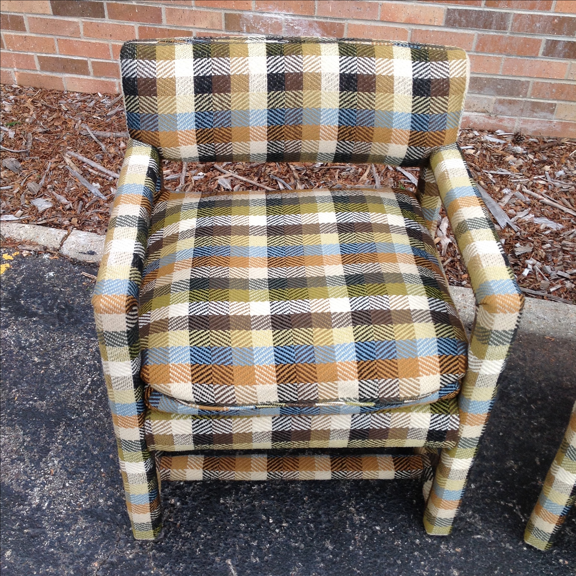 Milo Baughman Plaid Tweed Parsons Chairs   A Pair   Image 5 Of 9