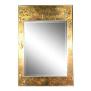 Vintage Églomisé Reverse Painted Chinoiserie Gold-Tone Wall Mirror La Barge Attribution For Sale