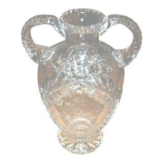 Large Heavy Double Handle Amphora Urn Style Hand Cut Crystal Vase For Sale