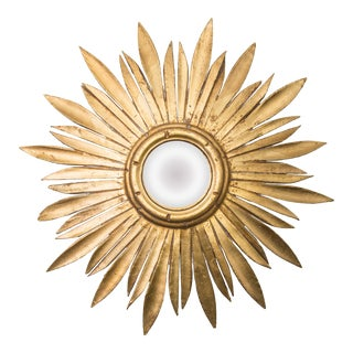 Mid Century French Giltwood Sunburst Convex Mirror For Sale