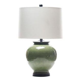 Lawrence & Scott Kame Celadon Crackle Porcelain Table Lamp For Sale