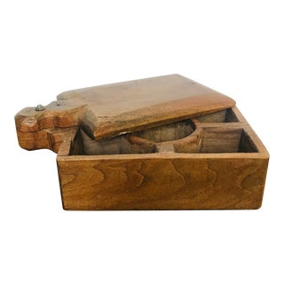 Vintage Carved Wood Indian Rustic Spice Box For Sale