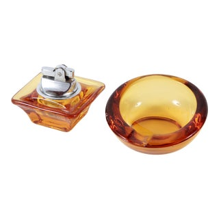 Vintage Viking Glass Mid Century Modern Amber Yellow Ashtray & Table Lighter - a Pair For Sale