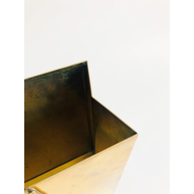 Dada Vintage Brass Shopping Bag Magazine Rack For Sale - Image 3 of 11