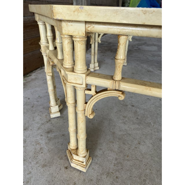 1970s Vintage Faux Bamboo Fretwork Coffee Table For Sale - Image 5 of 13
