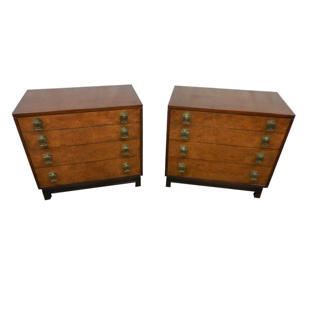 Johnson Furniture Co. Vintage Burl Chests - A Pair - Image 2 of 2