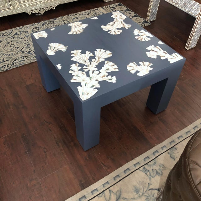 2010s Modern Blue Coffee Table With Mother of Pearl Inlay For Sale - Image 5 of 12