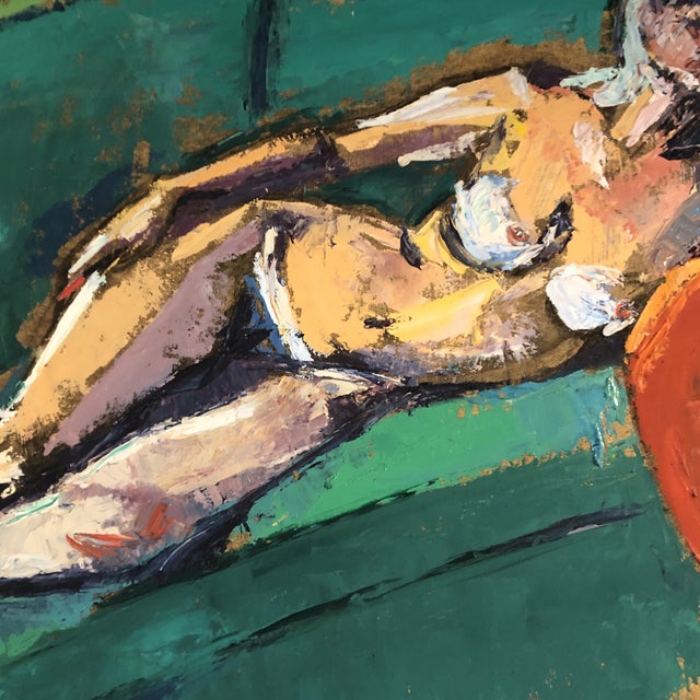 1970s Original Vintage Female Reclining Nude Abstract Painting 1970's For Sale - Image 5 of 7