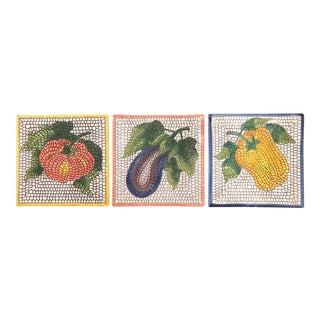 1980s Italian Painted Tiles - Set of 3 For Sale
