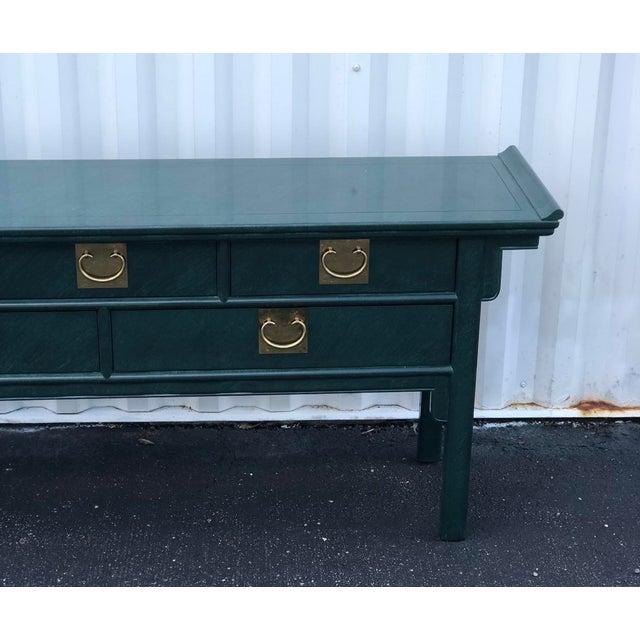 Chinoiserie Century Furniture Lacquered Green Malachite Pagoda Console For Sale - Image 3 of 12