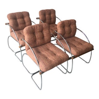 1960s Mid-Century Modern Chrome Cantilever Chairs - Set of 4