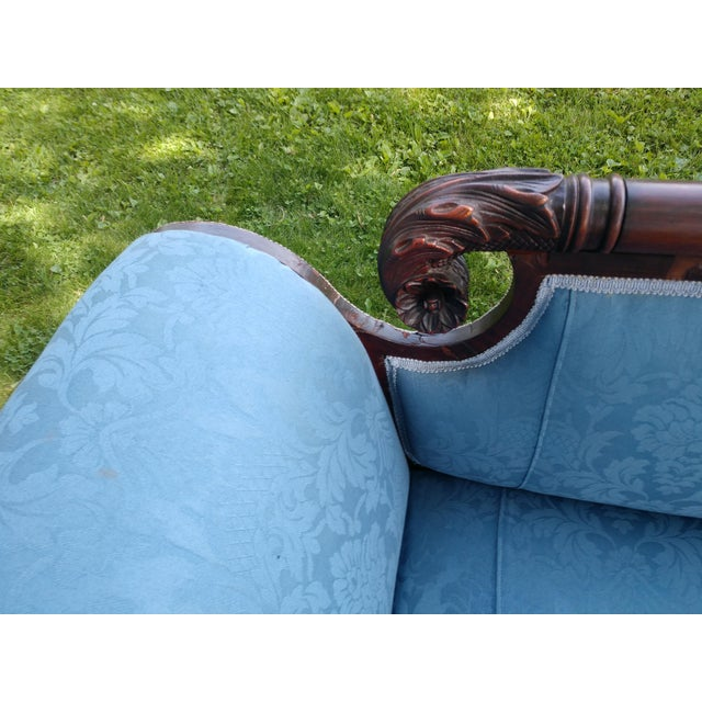 Antique Duncan Phyfe Style Victorian Blue Claw Foot Sofa For Sale - Image 4 of 13