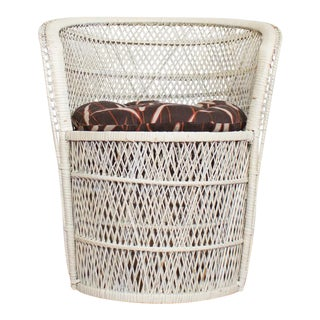 Bohemian Rattan and Wicker Bucket or Barrel Chair in Antique White