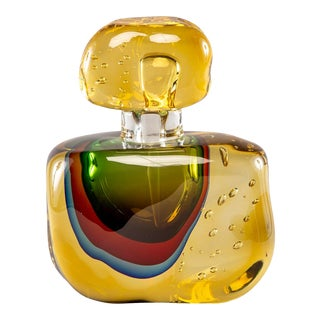 Amber Hand Blown Murano Glass Perfume Bottle For Sale