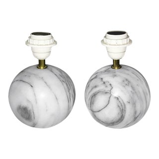 Carrera Marble Ball Table Lamps - a Pair