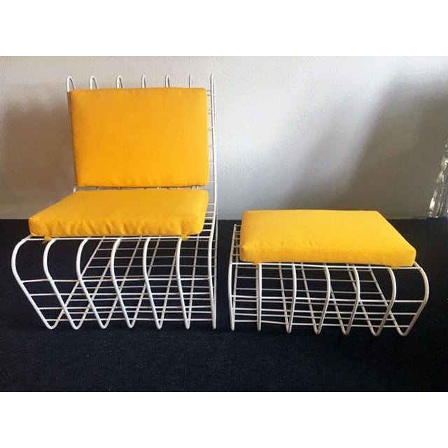 1970s Mod Wire Lounge Chair With Ottoman For Sale - Image 4 of 13