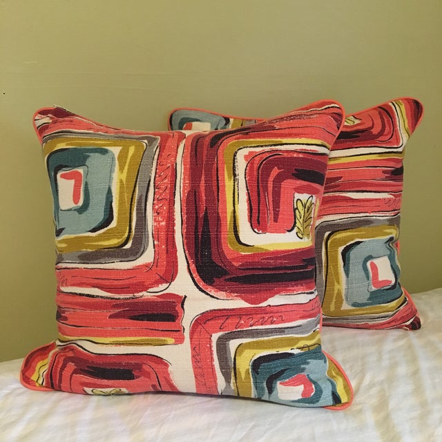 Abstract Bespoke Mid-Century Modern Barkcloth With Rose Leather Cording Pillow Set - a Pair For Sale - Image 3 of 3
