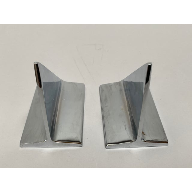 Mid-Century Abstract Modern Chrome Bookends - a Pair For Sale - Image 9 of 13