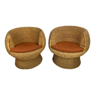 Mid-Century Eero Aarnio Style Wicker Pod Chairs - a Pair For Sale