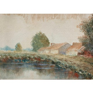 Impressionist Houses by Lake Watercolor Landscape Painting, Circa 1920s For Sale