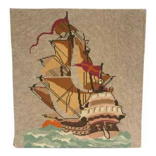 English Needlepoint Sailing Ship Wall Hanging For Sale