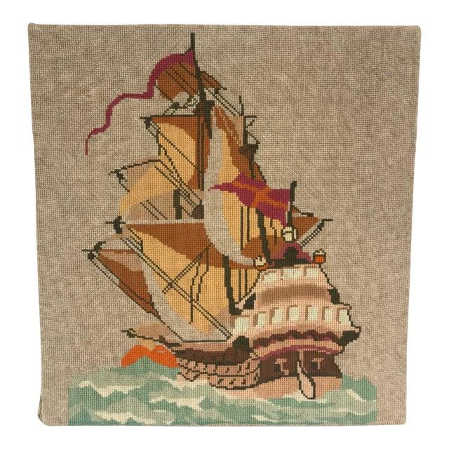 English Needlepoint Sailing Ship Wall Hanging For Sale