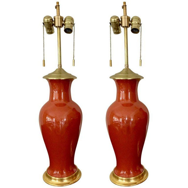 1960s Japanese Orange Porcelain Lamps - a Pair For Sale - Image 13 of 13