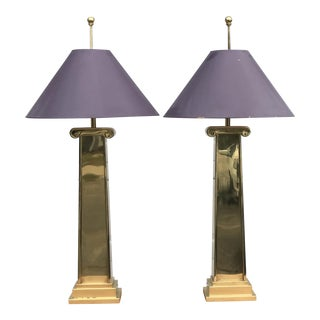 1980s Chapman Brass Column Lamps - a Pair For Sale