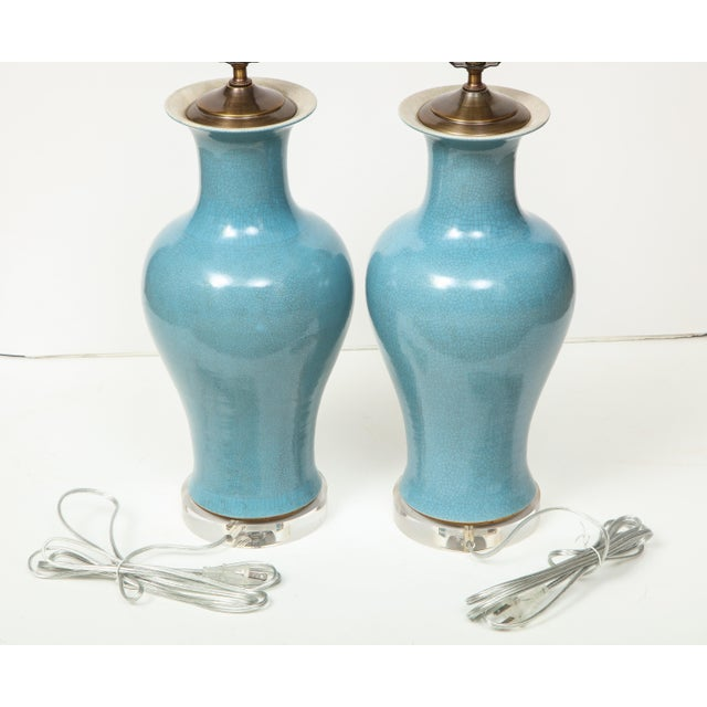 Chinese Crackle Glazed Blue Vase Lamps - A Pair For Sale - Image 3 of 13