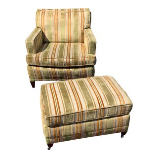 1970s Vintage Club Chair With Ottoman For Sale