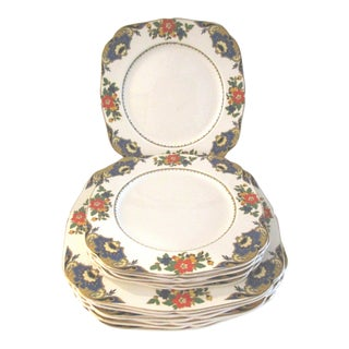 1940s H & K Tunstall English Dinner Plates, Set of 12 For Sale