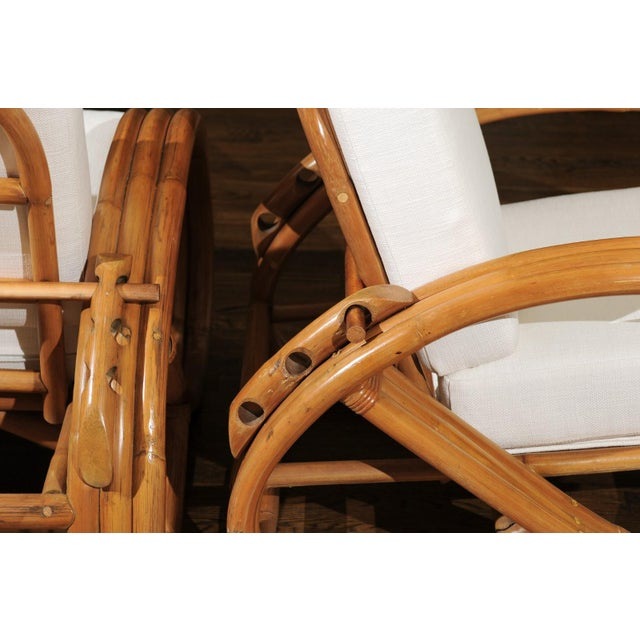 Rattan Pair of 1950s Restored Pretzel Loungers For Sale - Image 7 of 13