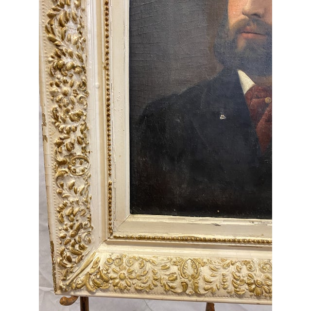 Antique 19th C. Oil on Canvas Portrait of a Handsome Bearded Man White Gilt Gold Frame For Sale In New York - Image 6 of 11