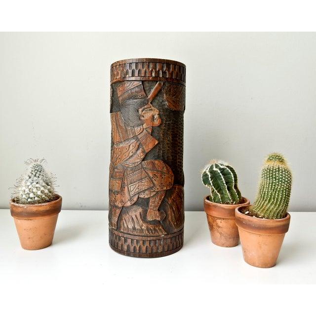 Brown Antique Bamboo Vase, Japanese Brush Holder, Carved Wood Vase, Samurai Warrior For Sale - Image 8 of 8