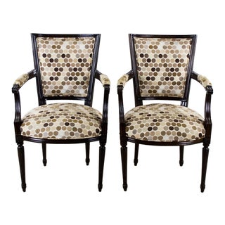 19th Century Louis XVI Style Hand Carved Armchairs - a Pair